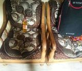 Two Black And Brown Leather Cowboy Boots