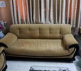 Yellow Fabric Three Piece Sofa 5 Seater