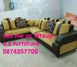 Black And Brown Fabric Sofa Set
