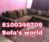 Black And Gray Fabric Sofa Set
