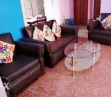 Black Leather Sofa Set Without Coffee Table