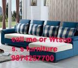 Blue And White Fabric Sofa