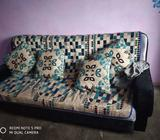 Two Black And White Floral Sofa Chairs