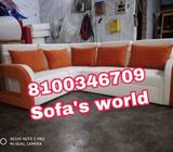 White And Red Fabric Sofa Set