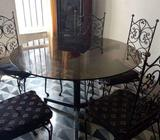 Wrought iron 6 esater dining table and chair