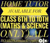 HOME TUTOR available at IDGAHILLS for classes